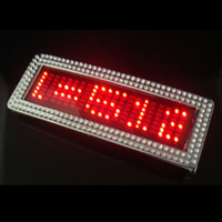 Wholesale LED Belt Buckle With Crystal Red Color Adjustable Programmable Scroll Message Display