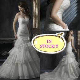 Wholesale IN STOCK SALE beaded sweetheart ruched organza mermaid wedding dress bridal gown dress