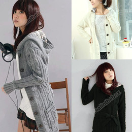 Wholesale Women s Long Sleeve Hoodie Cardigans trench Sweater Wool Cotton