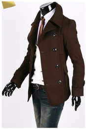 Wholesale 2012 New Style Men s Slim Double breasted Casual Solid Woolen Long Sleeve Lapel Coat