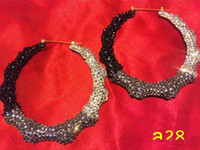 bamboo earrings with crystals - 12pcs Brand new Fade to Black Bamboo Hoop Earrings with Crystal fashion jewelry bling