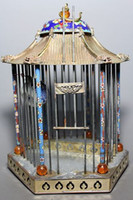 Wholesale Cheap Chinese Old Cloisonne Handwork Painting Flower Big Bird Cage