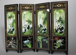 Wholesale Rare Cheap Chinese Old Porcelain Handwork Painting Panda Screen Decoration