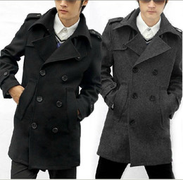 Wholesale Men s double breasted big lapels black woolen coat
