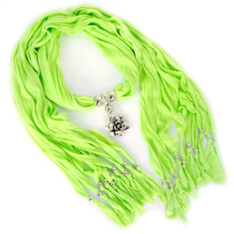 3PCS a LOt, Womens Jewelry Alloy Rose Flower Pendant Green Jewellery Scarf necklace 12colors avaiable ,NL-1252K