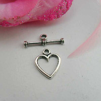 Alloy ancient heart - hot sale Ancient silver plated toggle Heart clasps CP10249 x6mm set