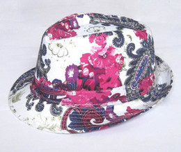 Wholesale Adult Trendy Grid Fedoras Hats Hat Fashion FlowerCheck Fedora Hats Caps Blue Red Black Mix Order