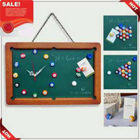Wholesale DIY Billiard Wall Clock Message Blackboard Board Mute Creativity Venue Clock Billiards Signboard