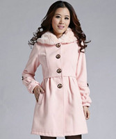 Coats Women Middle_Length Winter Women pink wool collar single-breasted Pleated self high-grade wool Coat. Size: M. L. XL. XX