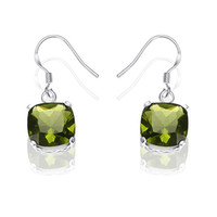 Wholesale Marvelous Silver jewelry Emerald Green Topaz Earrings fashion Gemstone earrings pairs