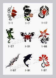 Wholesale Temporary Airbrush Tattoo Stencils book Template Booklet designs Reuseable Free shipging
