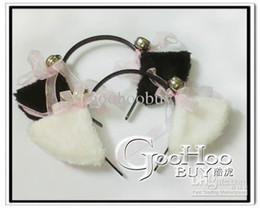 Wholesale Christmas gift Gothic Handmade White amp Black Bell Staff Cat Ear Lolita Headdress