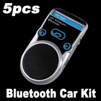 Wholesale Bluetooth Car Kit Handsfree call Car Kit LCD Display Solar Powered Free Express