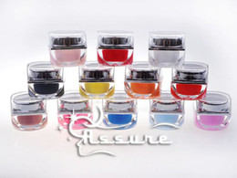 Wholesale 12 Pure Colors Shiny Pots Cover UV Gel Nail Art Tips Extension Manicure Decor best
