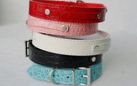 Wholesale colors Leather Dog Collars Gator Skin Personalized Dog collars lethaer for mm letters