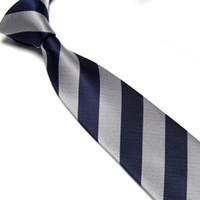 al por mayor corbata corbata-lazos rayados hombres el nudo de corbata por menor venta neckcloth plata + Marina cuello lazos estudiantes lazos camisa corbata