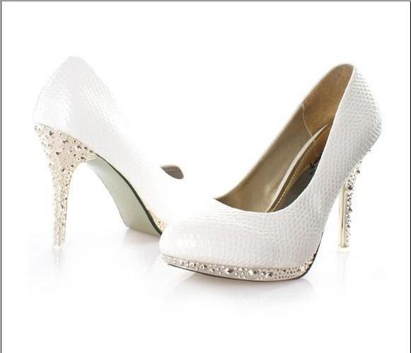 Women Wedding Shoes Fashion Rhinestone Heels Shoes Wedding Shoes ...