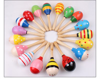 Wholesale Novelty Mini Wooden infant Baby Toys Rattles Sand Hammer Musical Instrument party pavor kids toys Wooden Children Educational Toys