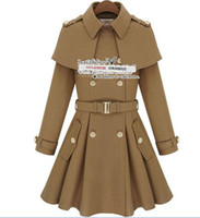 Wholesale Winter Women camel Slim double breasted wool cape cashmere coat large lapel woolen coat