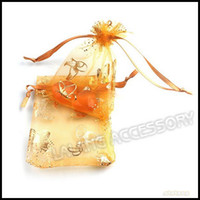 Wholesale 7x9cm Orange Butterfly Jewelry Organza Gift Bags Pouches Fit Wedding Party Dispaly