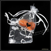 Wholesale 5x7cm White Heart Wedding Favor Organza Gift Bags Jewelry Candy Pouchs Bags