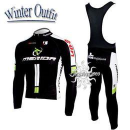 2010 MERIDA BLACK Winter Fleece Thermal Black Long Sleeve Cycling Jersey + Bib Pants M038