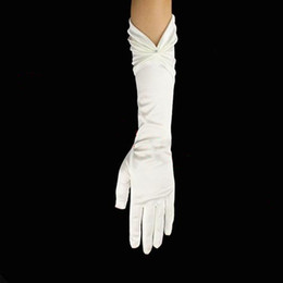 Wholesale Optimal Simple Wedding accessory Fingers Satin Pleaated Beaded white Wedding Gloves G
