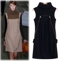 Fashion Dresses Turtleneck Slim Wool Vest Casual Dress