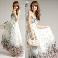 Casual Dresses chiffon maxi dresses - High quality dress new fashion dress Bohemia style tube dress Chiffon Maxi dress