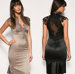 Wholesale 2012 party Cocktail Dresses Black beige Dress V neck sexy lace cute dress dropship
