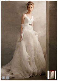 Wholesale 2012 Celebrity Design V Neck Ball Gown with Fully Draped Skirt Organza Flanges Swirls Wedding Dress