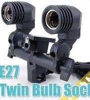 Wholesale Hot Twin Lamp Bulb Holder E27 Socket Flash Umbrella Bracket AE1B