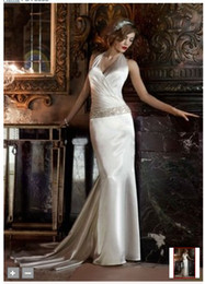 Wholesale 2012 Celebrity Design Sexy Charmeuse V Neck Halter w Ruched Surplice Bodice Beadings Wedding Dress