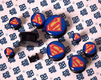 Wholesale Acrylic superman logo ear plug flesh tunnel mixing sizes body piercing jewelry SSLOG03