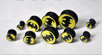 Wholesale Acrylic BATMAN logo ear plug flesh tunnel mixing sizes body piercing jewelry BIANFU123