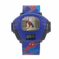 Wholesale Cute Cartoon Spiderman Projector Wrist Watch Blue
