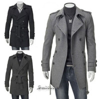 Wholesale Fashion Slim Fit Men Casual trench coat Mens Long Winter Coats Mens Wool MS136