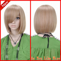 Wholesale New Blonde BOB Short Straight Fashion Kanekalon Women Costume Party Hair Full Wig