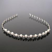 Wholesale Fashion Jewellery bridal Pearl headband with crystal tiaras wedding