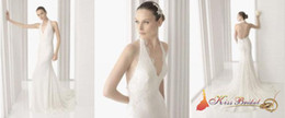 Wholesale In Stock White Best Sell Halter Floor Length Sleeveless A line Prom Cheap Wedding Dresses Gown