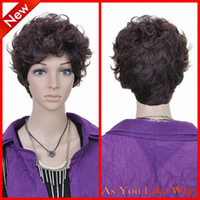 Wholesale New Short Dark Brown Curly Fashion Kanekalon Women Costume Party Hair Full Wig
