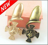 Wholesale Charms Gold Bronze Cross Medal Finger Nail Tip Nail Armour Rings for Polish Art Ring