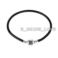 Wholesale 50Pcs Silver Plate amp Stamped Black leather Bracelets Fit European Beads Lbr2 cm