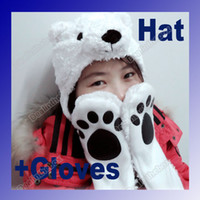 Wholesale Polar Bear Mascot Fancy Dress Costume Mask Hat Earmuff cute Cartoon Animal Cap Gloves