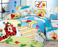 Wholesale Cute Winnie amp Tigger PC set Cartoon Children Queen bedding sets cotton kids bedspread PH2207