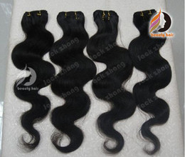 Wholesale 100 Brazilian Virgin Remy Hair Weft quot quot quot quot Body Wave Natural Black Human Hair Weave Extension