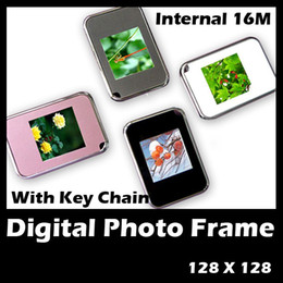 Wholesale Mini digital photo frames inch LCD display with keychain gift box packing USB Black white