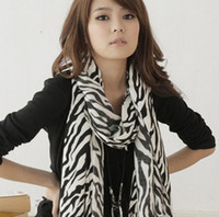 Wholesale New Warm Stylish Silk Scarves Zebra grain Scarf long shawl Women s Christmas gifts