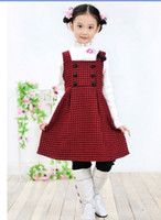 Wholesale 3pcs Christmas Designer Children s Dresses one piece dress bowknot wool vest skirt yzs168
