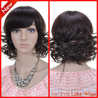 Wholesale New Short Wavy Dark Brown Fashion Kanekalon Women Costume Party Hair Full Wig D016